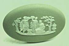 Nos Wedgwood Wedgewood Green Large Oval Cameo People Scene England Gorgeous H501