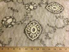 "Light Gray Medallion Raised 3D Poly/Spandex Lace/Net Fabric 54""W By The Yard"