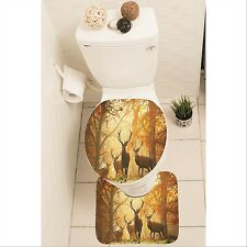 Stags Deer Set of 3 Bathroom Rug Set Mat Toilet Lid Cover y70 y0111