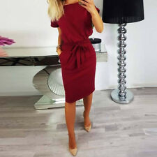 Women's Summer Short Sleeve Long Shirt Dress Bowknot Pencil Mini Dress Sundress