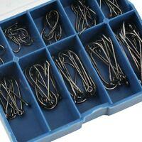 100 Eyed Fish Hooks  Fishing Tackle Box 10 Sizes 3-12 Stainless Steel UK STOCK