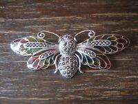 exquisite Schmetterling Brosche 925er Silber Emaille Butterfly enamel Brooch