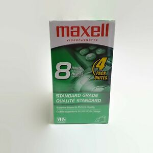 Maxell 4-Pack T-160 VHS 8 Hour Blank Videocassette Tapes Standard