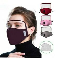 Cotton Face Cover Washable Activated Air Carbon Filters eye shield screen mouth