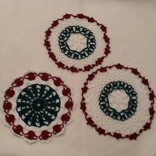 Crocheted Doilies Hand Made Lot Of 3 Home Decor Homemade Sewing