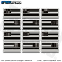 "American Gray Black Subdued Flag RH LH 2"" Sticker Decal 12 Pack USA US V3 ZU1"