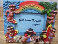 Hawaiian Hawaii Resin Vintage Frame Hula Dancer Palm Tree Vintage