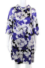 Madison Marcus Women's 3/4 Sleeve Shift Dress Silk White Purple Size Medium