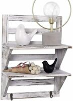 2-Tier Wall Mounted Floating Organiser Rack Bathroom Shelf Toilet Shelves White
