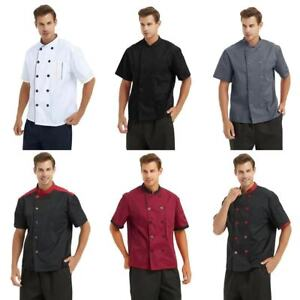 TopTie Unisex Short Sleeve Chef Coat Jacket Men Women Kitchen Work Cook Uniform