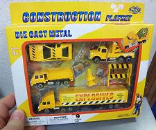 MEGA MOVERS construction 9 piece set, car, dumptruck, tow truck, semi & trailer