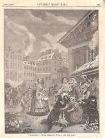 Covent Garden.1879.St.Paul's Church.Art.King Street.London.Antique print