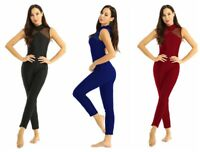 Womens Dance Rhinestones Jumpsuit Keyhole Back Leotard Mesh See Through Bodysuit