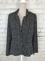 MISS CAPTAIN Black White Long Sleeve Smart Blazer Style Blouse Size 12