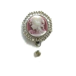 Cameo 3D Pink and silver badge holder, femenine ideal gift coworker