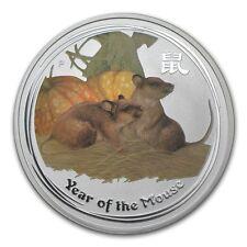 Perth Mint Australia 2008 $ 1 Coloured Mouse 1 oz .999 Silver Coin