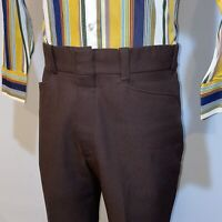 Vtg 60s 70s Pants Brown POLYESTER Leisure suit Disco Retro Old Man MENS 33 29