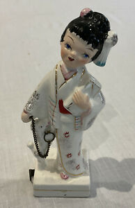 VINTAGE JAPANESE GEISHA GIRL CERAMIC SEWING TAPE MEASURE RETRACTABLE INCHES DOG