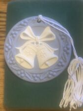 "Wedgwood Jasperware Blue Christmas Ornament ""Bells"" 1991 W/ Box"