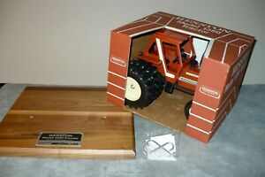 1380 HESSTON Commemorative Toy Tractor, Duals on Walnut Plaque 1/16 Scale Models