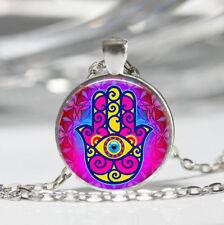 Hamsa Hand Tibet silver Dome Glass Cabochon Necklace chain Pendant #226
