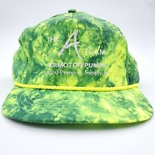 Vintage Neon Green Rope Hat Snapback A Team Promo Mens Satin Trucker Hip 90s