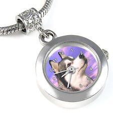 Alaskan Malamute Silver Quartz Watch European Bracelet Spacer Charm Bead EBA159