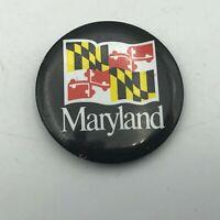 "Vtg Maryland Race Track Raceway 1-1/2"" Pin Pinback Button Checkered Flag  P9"