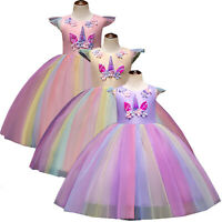 US Kids Girls Unicorn Dress Tutu Floral Princess Cosplay Costumes Birthday Party