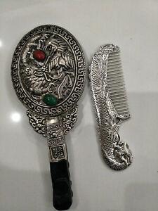 Old Handwork Miao Silver Carve Dragon Phoenix Use Rare Comb Hand Mirror lj301