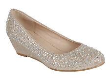 New Womens Jeweled Rhinestone Crystal Med Low Wedge Heel Slide Slip On Pump Shoe