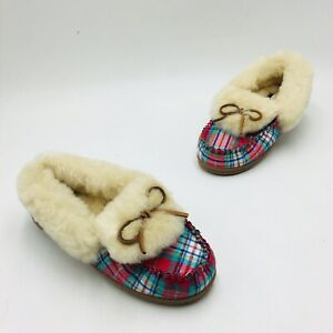 Lands' End Women's Plaid Shearling Fur Moccasin Slippers - Rich Red Plaid