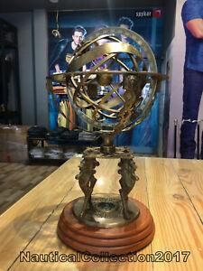 18 Inches Large Lion Engraved Brass Armillary Sphere World Globe - Decor Item