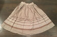 Vtg 50s Brown+White GINGHAM Check+Plaid Embroidered FULL ROCKABILLY Skirt 24""