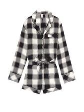 NEW!! Victoria's Secret Romper Nightwear Pyjamas Medium M Check Silver Black PJs