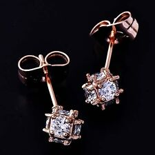 9K Rose Gold Filled crystal Crystal Womens Magic Ball Stud Earring
