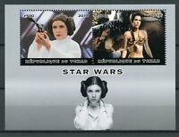 Chad 2018 MNH Star Wars Princess Leia Carrie Fisher 2v M/S Film Movies Stamps