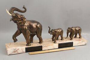 Lg Antique Art Deco Marble & Bronzed Elephant Mother & Babies Sculpture Statue