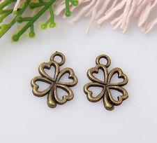 35pcs bronze plated four-leaf clovers pendants 17x13mm #1A1355