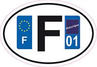 1 autocollant Oval Printed Sticker plaque d'immatriculation département 00