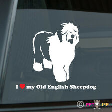 I Love My Old English Sheepdog Sticker Die Cut Vinyl - oes