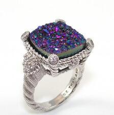 Judith Ripka Sterling Silver Purple Blue Drusy CZ Heart Ring Size 8.25