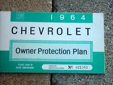 1964 Impala SS / Corvette Factory GM Original Blank Owners Protection Plan Mint