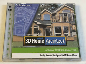 Broderbund 3D Modeling Rendering Home Architect Deluxe 3.0 Windows 95 98 ME 2000