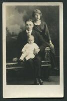 RPPC FASHIONABLE YOUNG LADY & GENT w BABY ANTIQUE REAL PHOTO POSTCARD c 1930