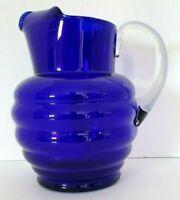VINTAGE 1930S DUNBAR GLASS HARPO ARAMIS COBALT BLUE RINGS PITCHER ART DECO