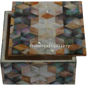 "6"" Marble Ring Jewelry Box semi precious Stones Pietradura Handmade Art Work"