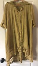 April Cornell Lt Green Lace Cotton smock Boho shirt hi lo house dress Sz S /M
