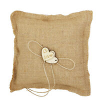 Burlap Hessian Rustic Country Wedding Ring Pillow Cushion Bearer Wood Hearts