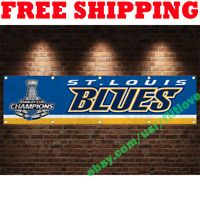 ST. LOUIS BLUES 2019 Stanley Cup Finals Champions 2x8 ft Banner Flag Wall Decor